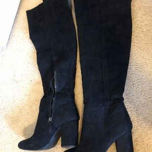 Over the knee black suede boots